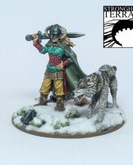 Weiblicher Kriegsherr mit Wolf-0